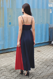 Gerisel Pleated Maxi Dress (Navy)