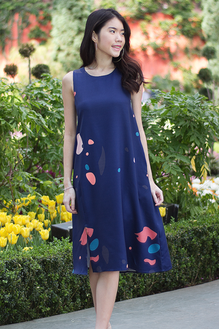 Luele Abstract Midi Dress (Navy)