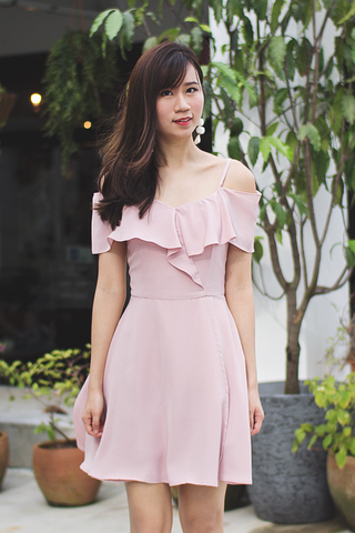 Kandie Flutter Dress (Blush)