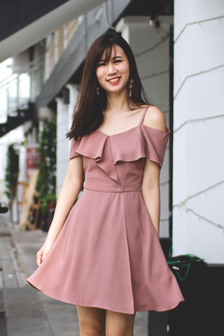 Kandie Flutter Dress (Mauve)