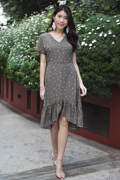 Fayen Hi-Lo Dress (Olive)
