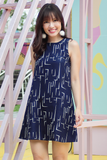 Corri Trapeze Dress (Abstract Lines)