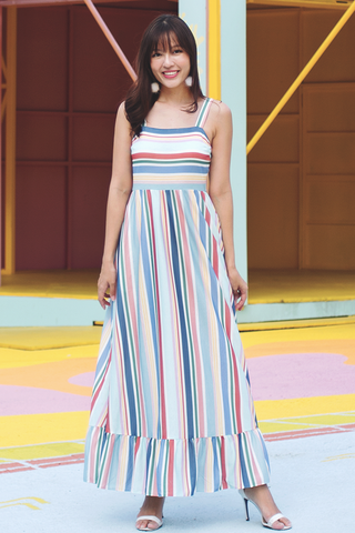 Astrid Maxi Dress (Rainbow Stripes)