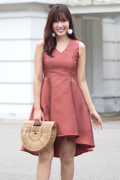Georgiette Flare Dress (Brick)