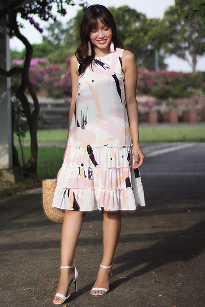 Stellane Abstract Tier Dress (Pink) (Backorder)