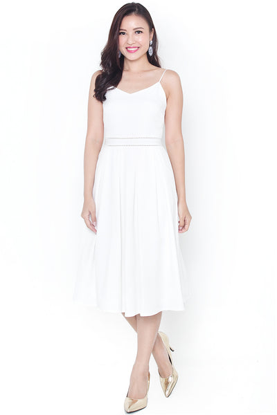Chandelle Pleat Midi Dress (White)