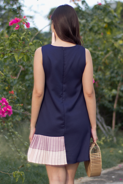 Darcella Colourblock Dress (Navy Pastel)