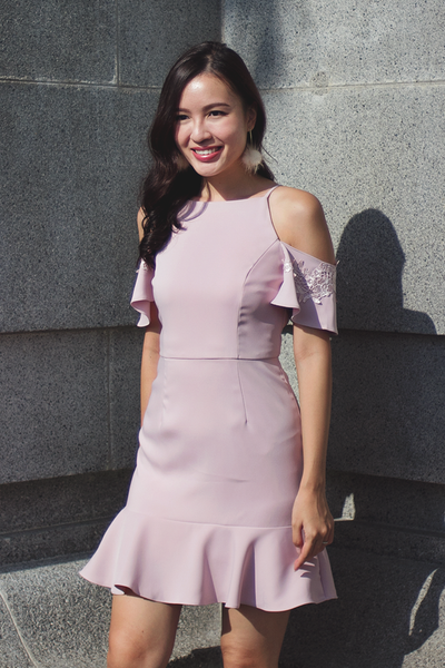 Lania Trumpet Dress (Blush)