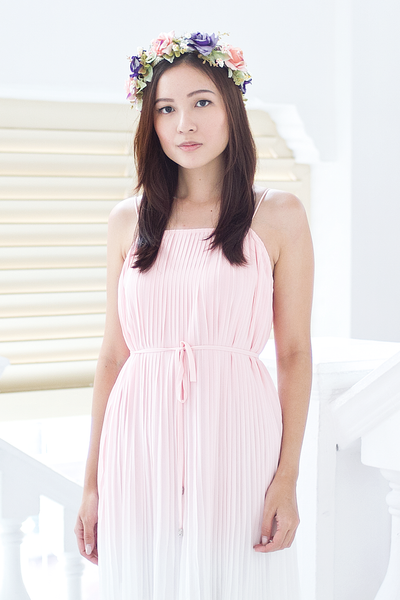 Fairline Ombre Pleated Dress (Powder Pink)
