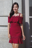 Carale Crochet Trumpet Dress (Wine)