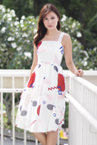 Carselle Abstract Dress (White)