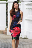 Ines Orient Floral Dress (Black)