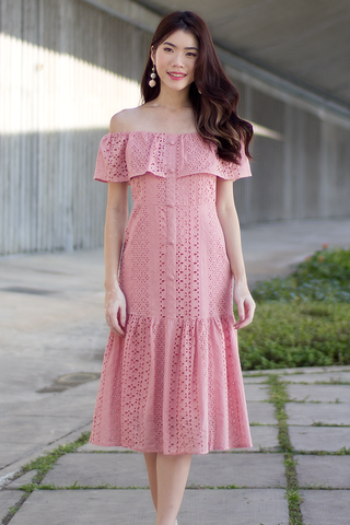Hilarie Crochet Dress (Pink)