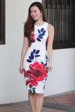 Ines Orient Floral Dress (White)