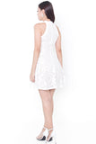 Calest Lace Halter Dress (White)