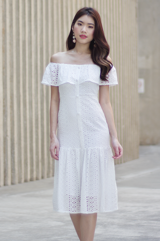 Hilarie Crochet Dress (White)