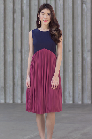 Carinna Pleated Colourblock Dress (Bold)