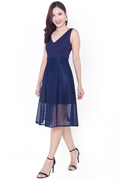 Keire Fit & Flare Midi Dress (Navy)