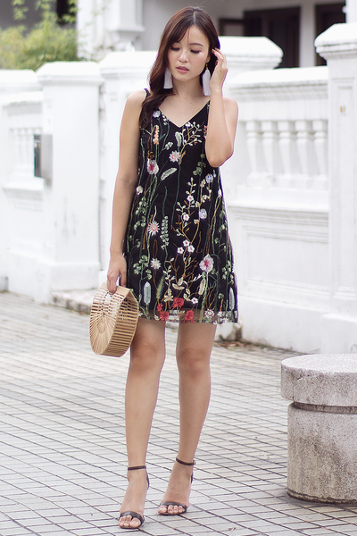 Mackenzie Floral Reversible Dress (Black)