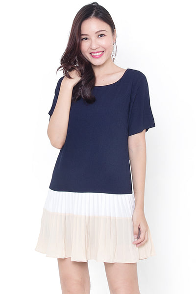 Middleton Colorblock Dress (Navy Beige)
