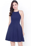 Kaye Halter Fit & Flare Dress (Navy)