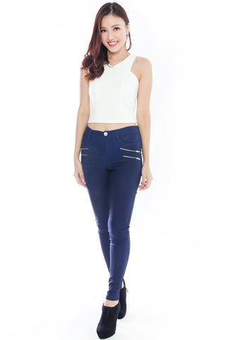 Lendra Fitted Pants (Blue)