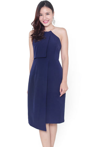 Candii Metal Halter Fitted Dress (Navy)