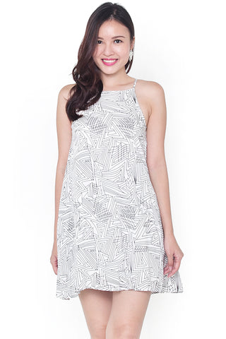 Ferlle Abstract Lines Dress (Black)