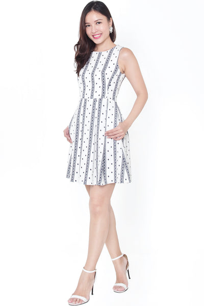 Fawna Aztec Pleat Dress (White)