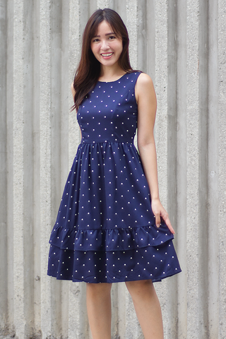 Leslle Ruffle Midi Dress (Navy)