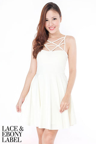 Adreal Lattice Skater Dress (White)