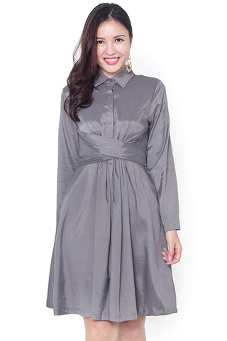 Lylene Tie-Knot Dress (Grey)