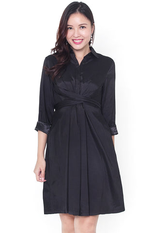 Lylene Tie-Knot Dress (Black)