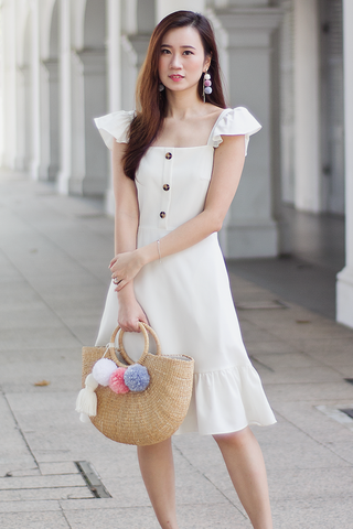 Carole Flutter Dress (Cream)