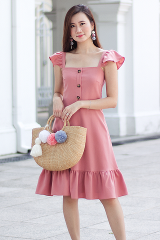 Carole Flutter Dress (Peach)