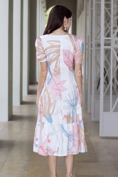 Carise Abstract Midi Dress (Pink)