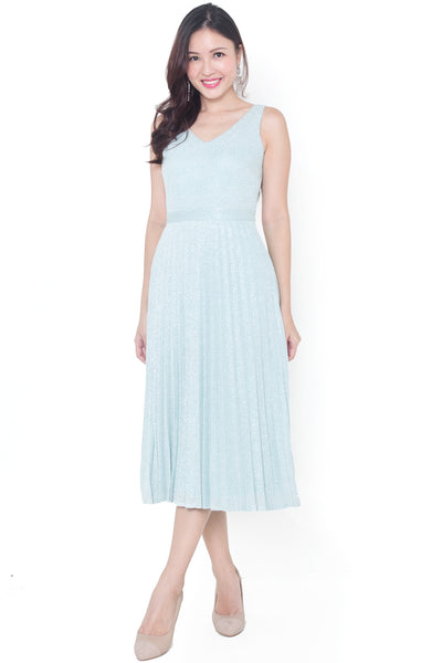 Cyndy Midi Pleated Dress (Mint)
