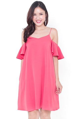Merie Cold-Shoulder Dress (Peach Red)