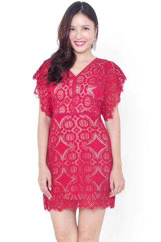 Bree Flutter Lace Dress (Red)