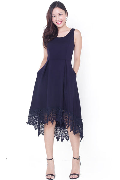 Fanelle Crochet Hi-Lo Dress (Navy)