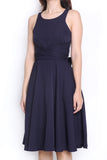 Janyce Tie-Knot Midi Dress (Navy)