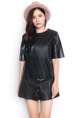 Thale Pleather Top (Black)
