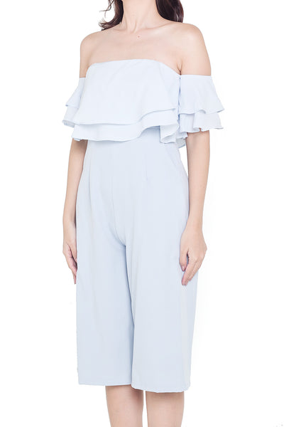 Kayle Off-Shoulder Culottes Jumpsuit (Powder Blue)