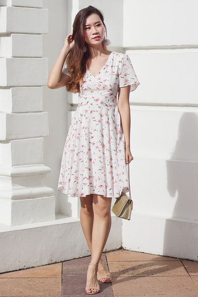 Clairie Floral Dress (White)