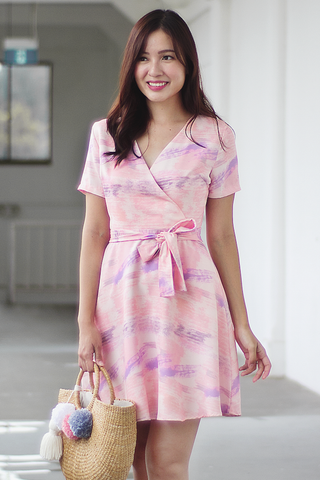 Harper Abstract Dress (Pink)