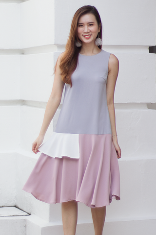 Carolise Colourblock Dress (Lilac Grey)