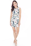 Carme Cut-Out Fitted Dress (Floral)