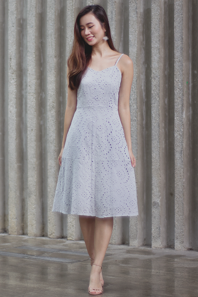 Avery Eyelet Dress (Grey)