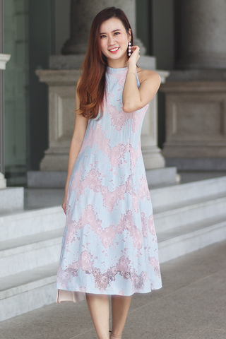 Valline Lace Midi Dress (Pastel)