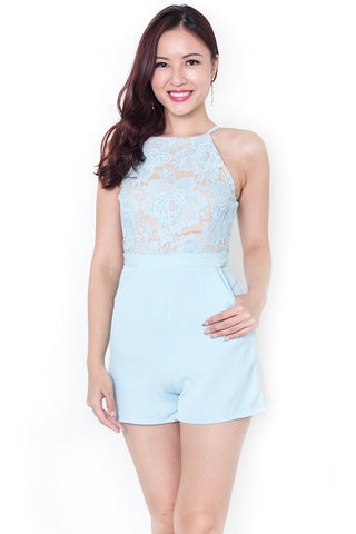 Pandora Rosette Lace Romper (Powder Blue)